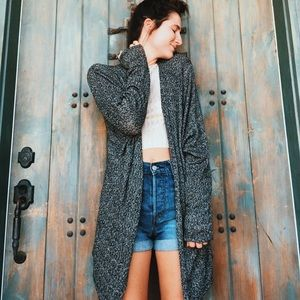 Brandy Melville Cotton Gray Slouchy Baggy Cardigan